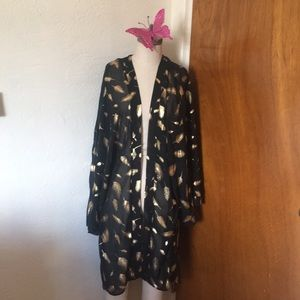 S Black and Gold Feather Kimono